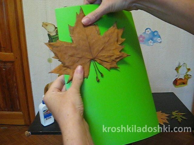 аппликация птичка из осенних листьев