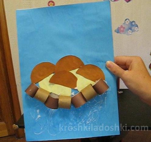 аппликация грибы в корзине из бумажных колец
