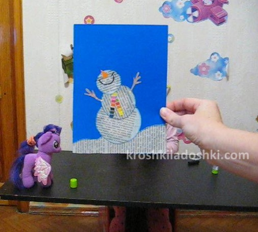 конспект аппликация снеговик