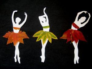 аппликация балерины из осенних листьев