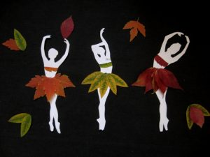 аппликация балерины из листьев