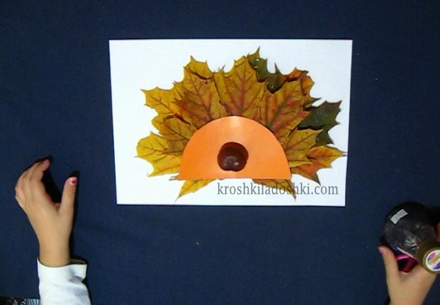 аппликация ежик из осенних листьев