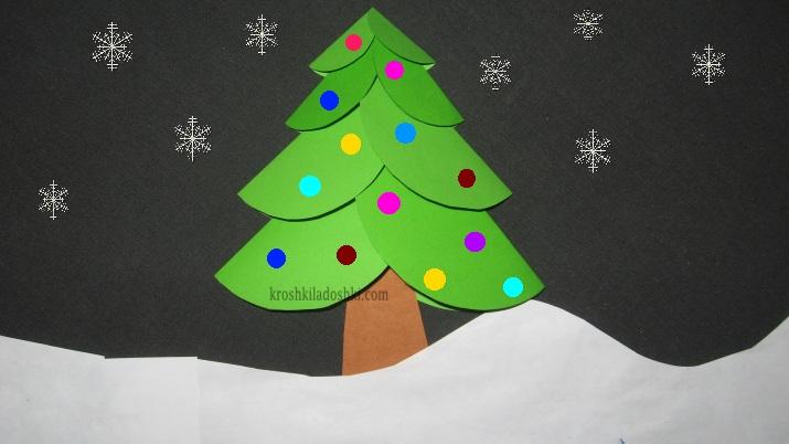 простая аппликация новогодняя елка