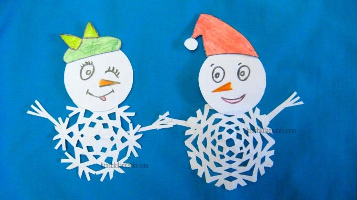 снеговики из снежинок
