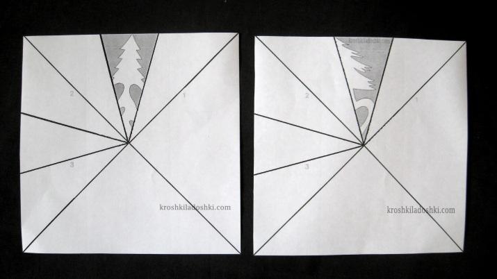 как вырезать снежинку елочка