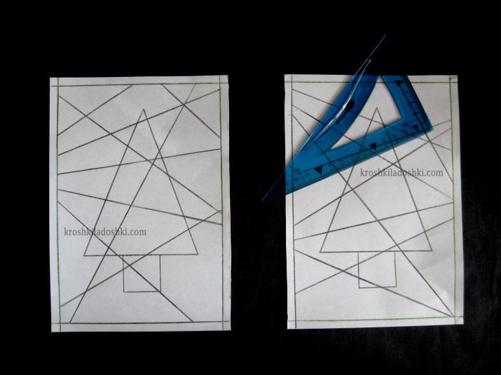 как нарисовать геометрическую елку