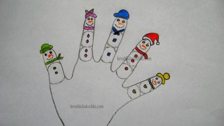 пальчики снеговики