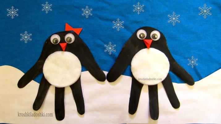 аппликация из ладошек пингвины