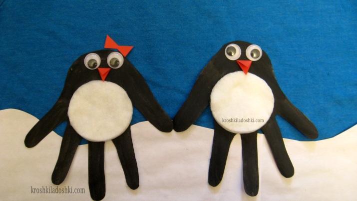 пингвины из ладошек