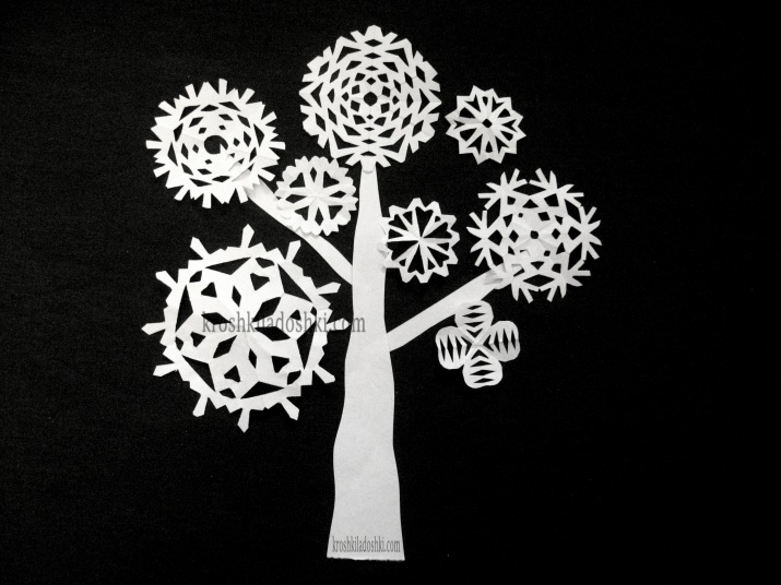 аппликация дерево из снежинок