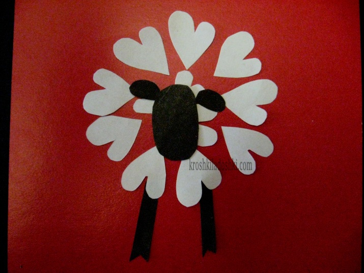 аппликация из сердечек овечка