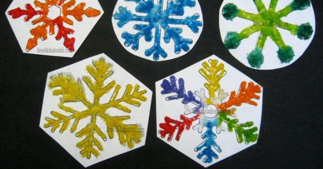 снежинки из клея и соли