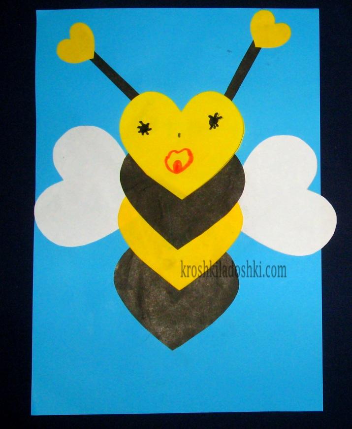 аппликация пчелка в средней группе
