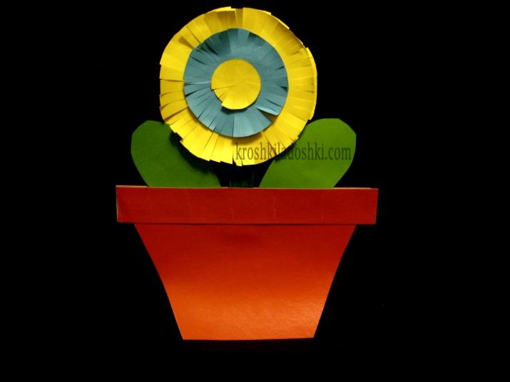 поделка цветок в горшке для мамы