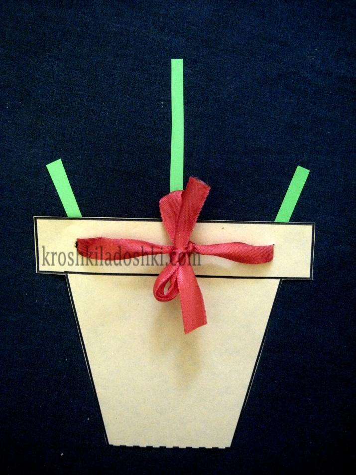 аппликация цветы в горшке из цветной бумаги
