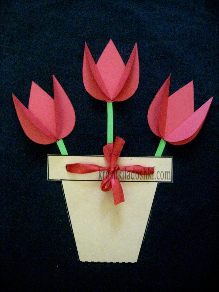 аппликация тюльпаны из цветной бумаги