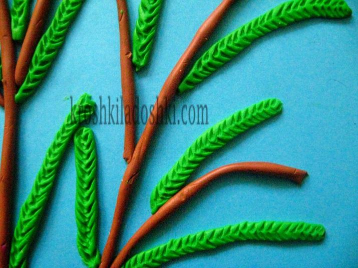 листья мимозы из пластилина