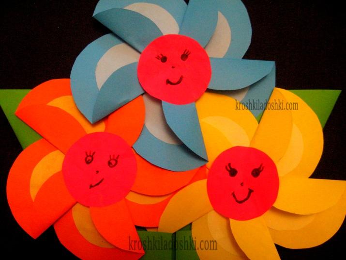 аппликация из бумаги цветы для мамы