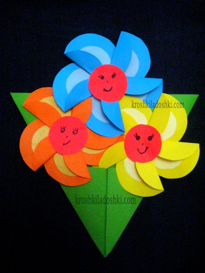 аппликация из цветной бумаги цветы для мамы