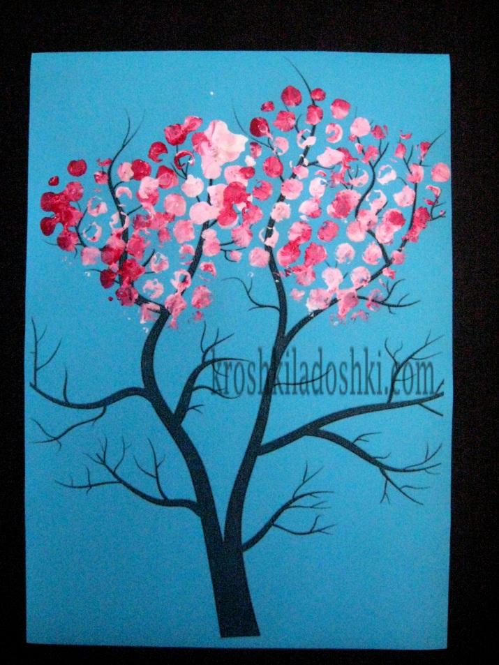 как нарисовать цветущее дерево