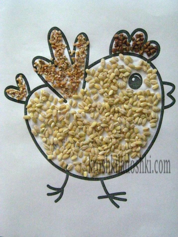 аппликация из круп цыпленок