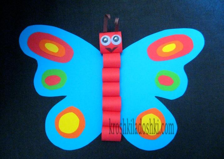 бабочка объемная аппликация из бумаги