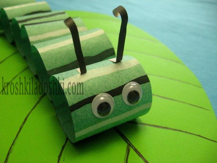 гусеница из колечек бумаги