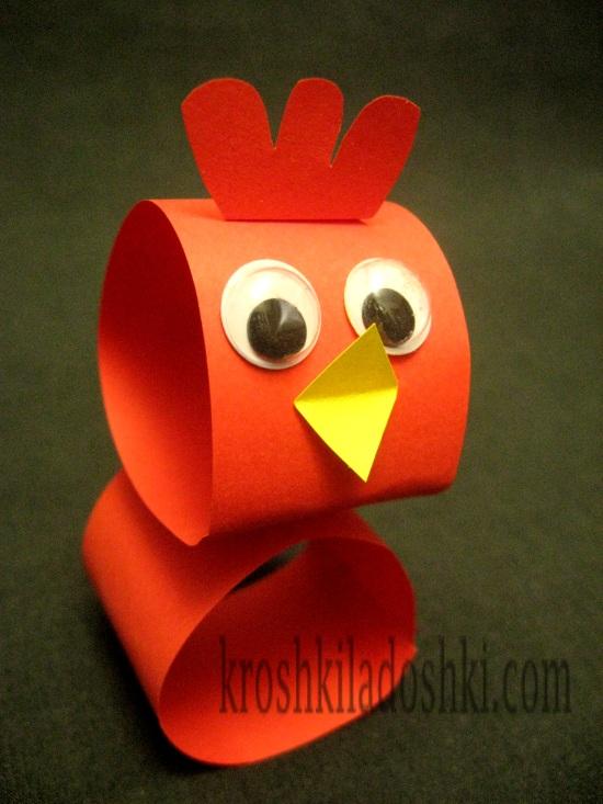 курица из бумаги объемная