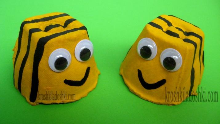 пчелки из яичных лотков