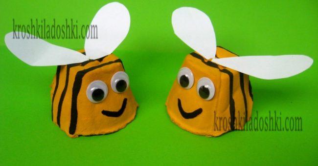 поделка пчелка из яичных лотков