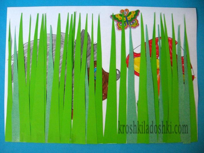 аппликация ежик и гриб в траве