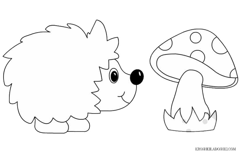 ежик и гриб раскраска