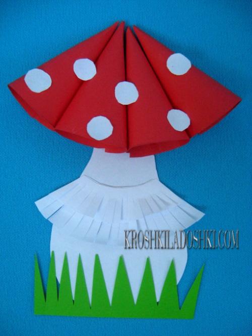 мухомор из бумаги для детей