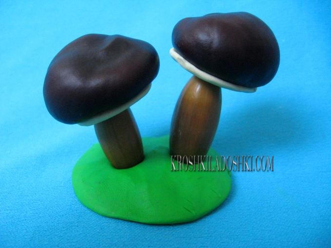 поделка грибная полянка из природного материала