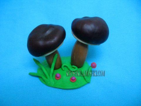 грибы из каштанов и желудей