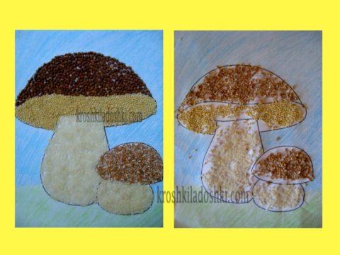 аппликация грибы из крупы