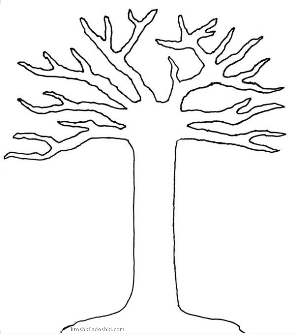 трафарет дерева для аппликации