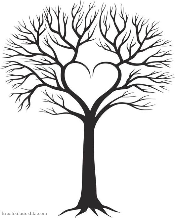 сердечное дерево трафарет
