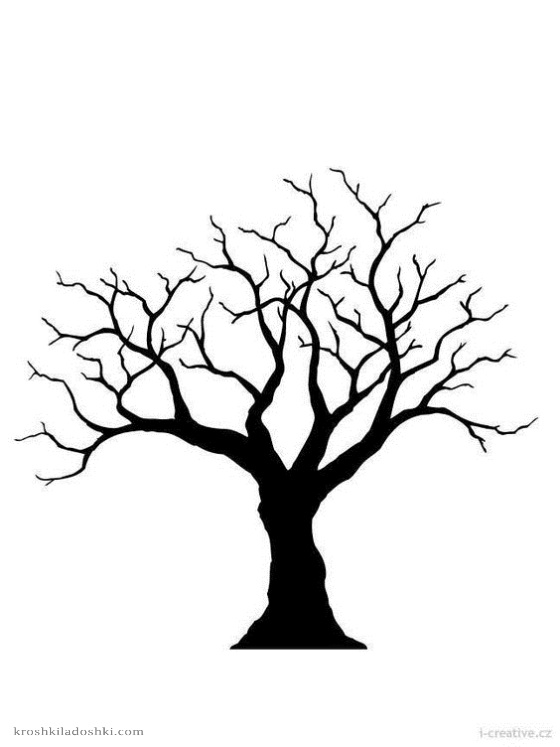 трафареты деревьев без листьев