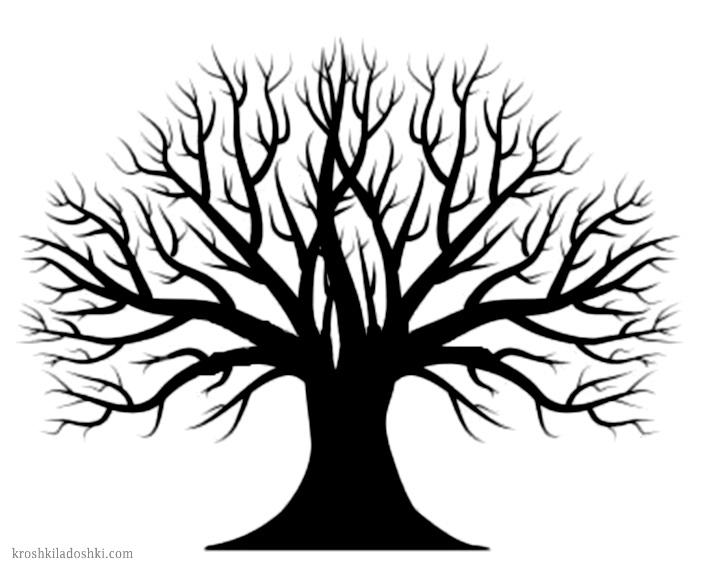трафарет дерева для аппликаций