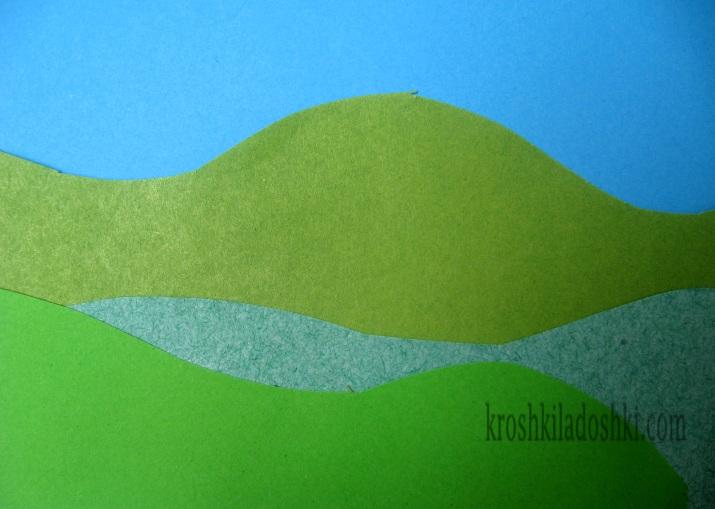 пейзаж из цветной бумаги