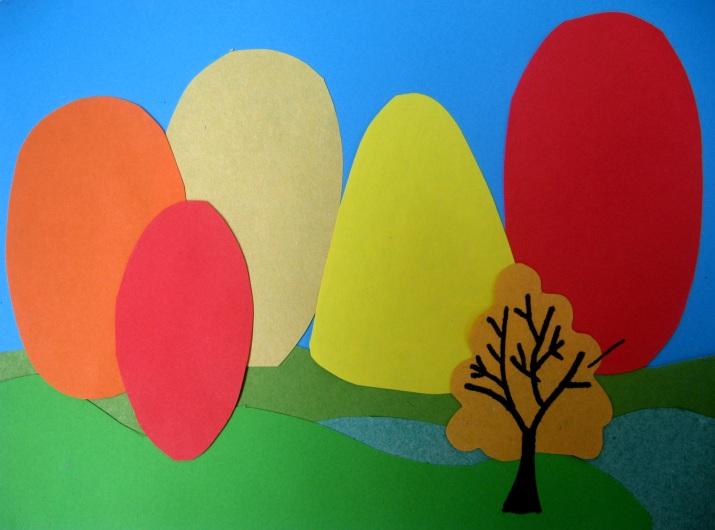 аппликация осенний лес из цветной бумаги