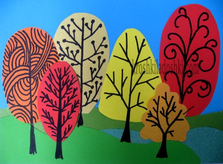 осенний лес из цветной бумаги