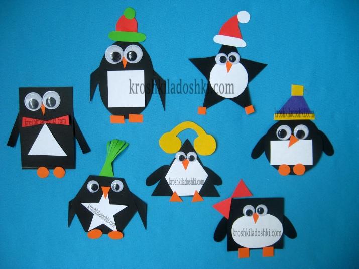 пингвины из геометрических фигур