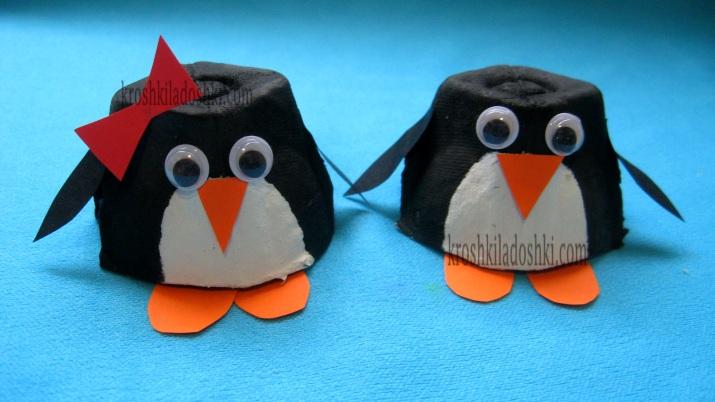 пингвин из яичного лотка