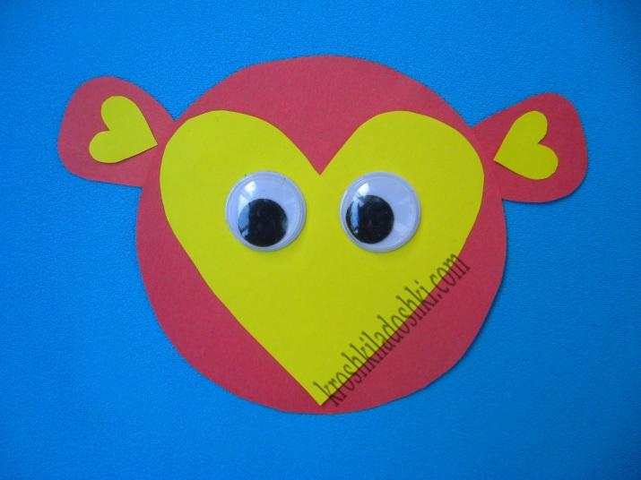 аппликация обезьяна из сердечек