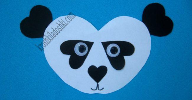 аппликация панда из сердечек