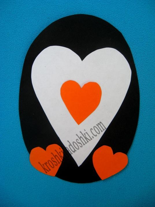 аппликация пингвин из сердец