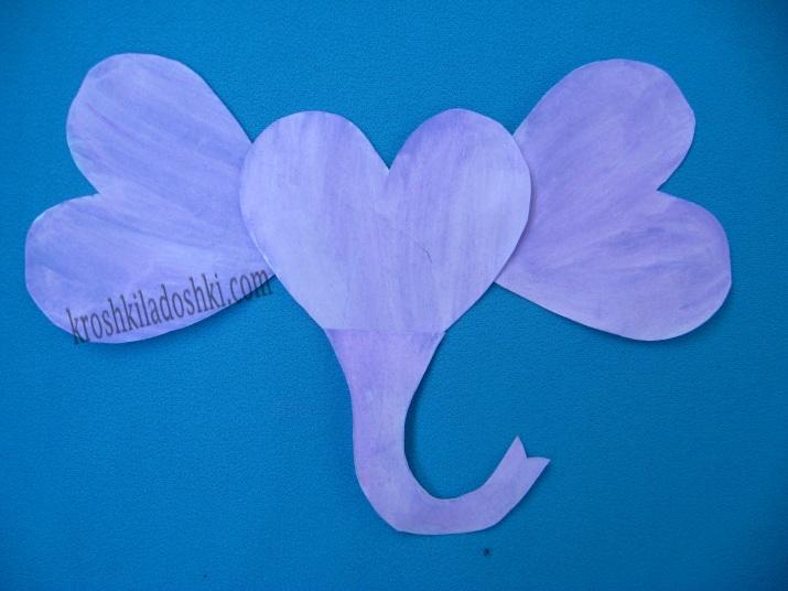 слон аппликация из сердечек