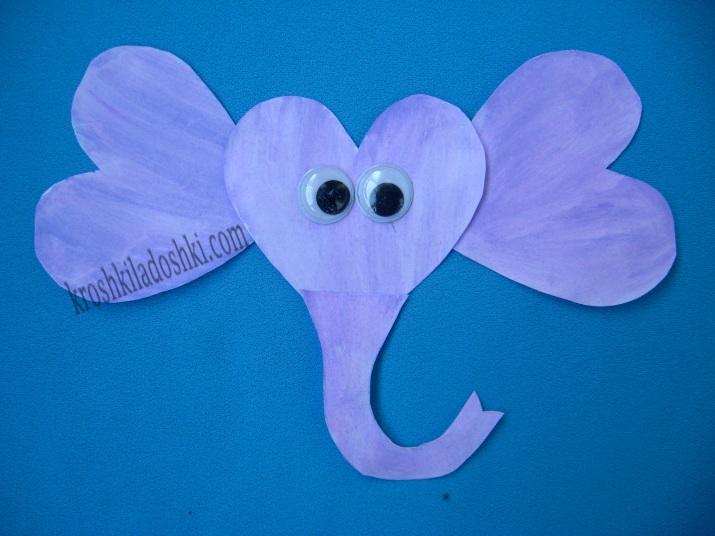 аппликация из сердечек слон